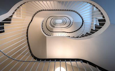 circular staircase, steps, path to the top, staircase, white staircase