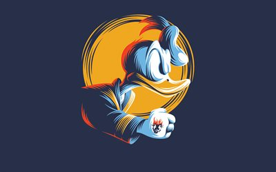 Donald Duck, art, blue background, cartoon character, creative art