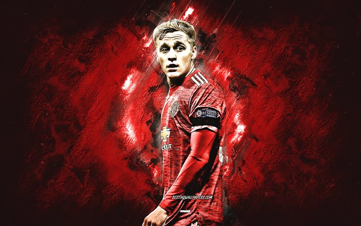 Donny van de Beek, Manchester United FC, portrait, dutch footballer, midfielder, red stone background, football, Premier League