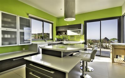 modern kitchen design, green kitchen, kitchen interior, green walls