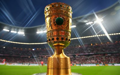 4k, German football cup, trophy, gold cup, Bundesliga, football, stadium, German Football Union