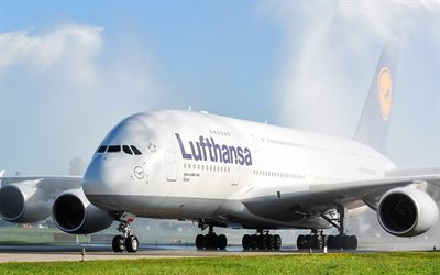4k, Airbus A380, Lufthansa, passenger airliner, air travel, airport, passenger modern airplanes, Airbus