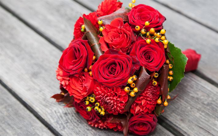 Famoso Scarica sfondi bouquet da sposa, 4k, rose rosse, nozze, rose  NG67