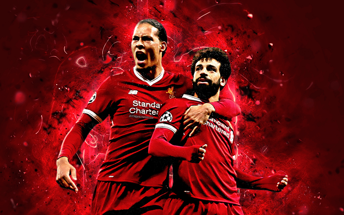 Download Wallpapers Virgil Van Dijk, Mohamed Salah, Goal, Liverpool FC, Football Stars, Premier
