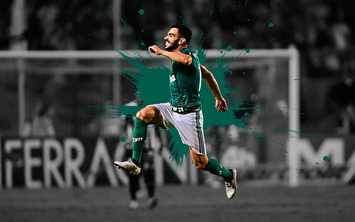 Download Wallpapers Bruno Henrique, 4k, Art, Palmeiras SE