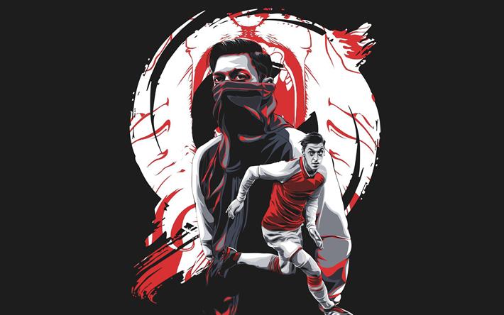 Download Wallpapers Mesut Ozil, Fan Art, Arsenal FC