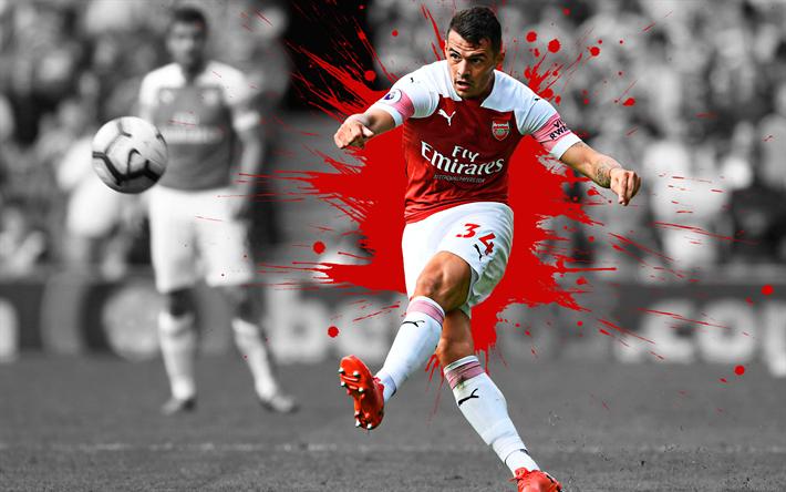 Download Wallpapers Granit Xhaka, 4k, Art, Arsenal FC