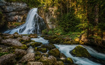 Gollingfall, waterfall, rocks, forest, green trees, natural wonder, beautiful waterfall, Austria Waterfalls, Salzburg, Austria, Gollinger Wasserfall, Schwarzbachfall, Golling Waterfall