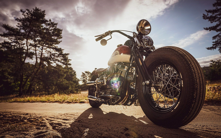 Harley-Davidson, Thunderbike Uncle Pan, Bobber, exterior, front view, motorcycle tuning, retro motorcycles, american motorcycles