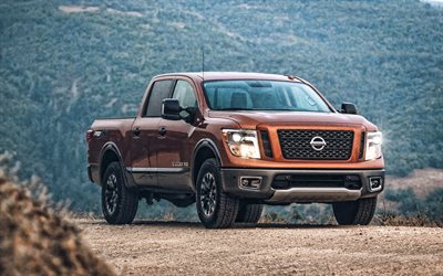 Nissan Titan, 2020, exterior, front view, new bronze Titan, pickup truck, japanese cars, Nissan