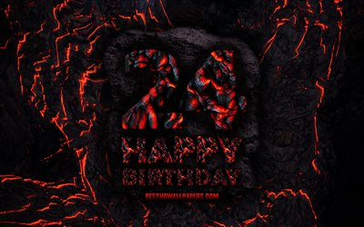 4k, Happy 24 Years Birthday, fire lava letters, Happy 24th birthday, grunge background, 24th Birthday Party, Grunge Happy 24th birthday, Birthday concept, Birthday Party, 24th Birthday
