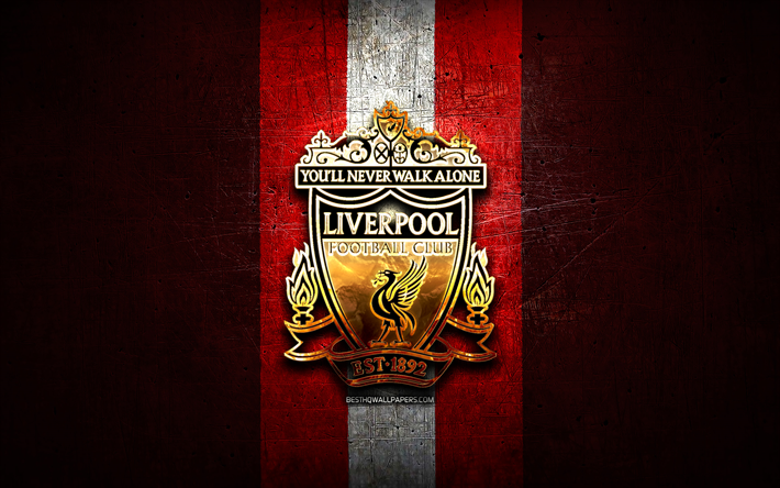 Download Wallpapers Liverpool FC, Golden Logo, LFC