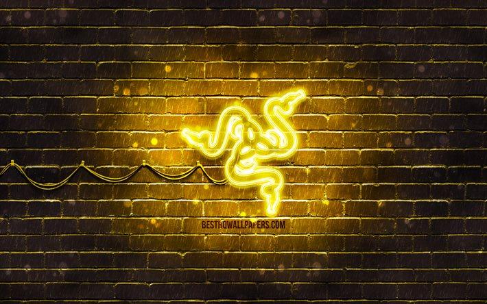 Download Wallpapers Razer Yellow Logo 4k Yellow Brickwall Razer Logo Brands Razer Neon Logo Razer For Desktop Free Pictures For Desktop Free