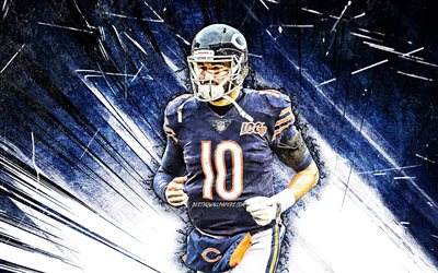 4k, Mitchell Trubisky, grunge art, NFL, Chicago Bears, american football, quarterback, blue abstract rays, Mitchell Trubisky Chicago Bears, Mitchell Trubisky 4K