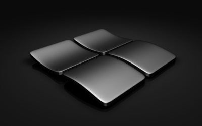 Windows, 3d logo, gray background, art, Microsoft