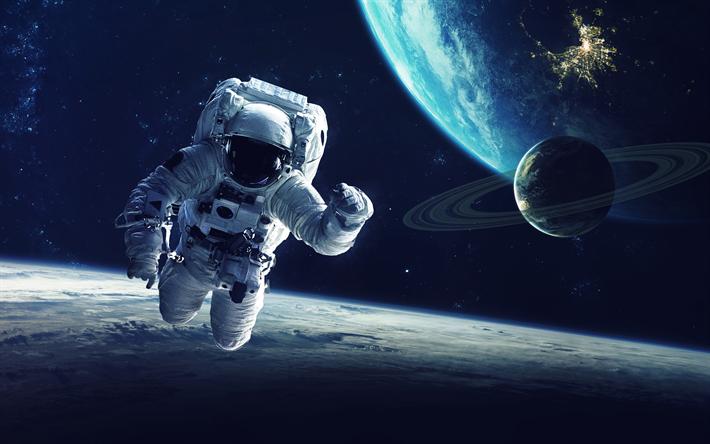 Scarica Sfondi Astronauta 4k Terra Spazio Galassia Satelliti