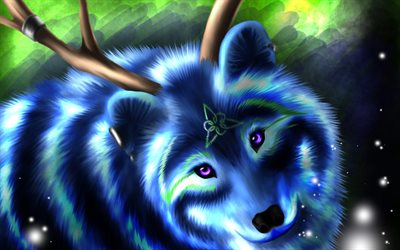 blue wolf, art, painted wolf, predator, forest, neon wolf