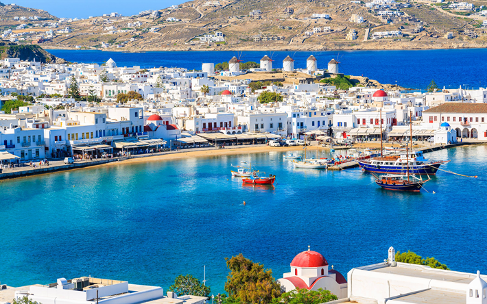 Mykonos, 4k, summer, sea, Mykonos island, Greek landmarks, Greece