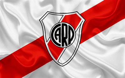 Club Atletico River Plate, 4K, Argentine Football Club, emblem, logo, First Division, Superliga Argentina, Argentina Football Championships, football, Buenos Aires, Argentina, silk texture