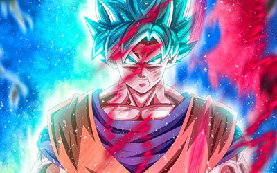 Goku, 4k, art, DBZ, fire, Dragon Ball Super, Son Goku