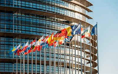 European Parliament building, 4k, Brussels, Belgium, European Union, flags of the EU countries, modern buildings, European Parliament