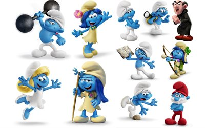 Smurfs, The Lost Village, 2017, 4k, all characters, Smurfetta, Gargamel