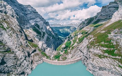 Mauvoisin Dam, 4k, Swiss Alps, Europe, Switzerland, Alps, mountains