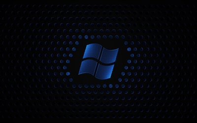Windows, 4k, metal grid, dark background, logo, Microsoft