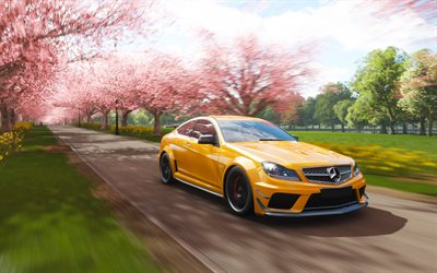 Forza Horizon 4, Mercedes-Benz C63 Coupe, AMG, poster, promo, yellow sports car, car simulator