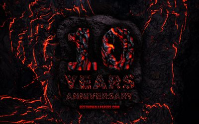 4k, 10 Years Anniversary, fire lava letters, 10th anniversary sign, 10th anniversary, grunge background, anniversary concepts