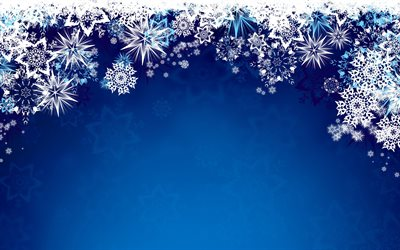 white snowflakes frame, 4k, blue winter backgrounds, snowflakes patterns, new year concepts, snowflakes frames