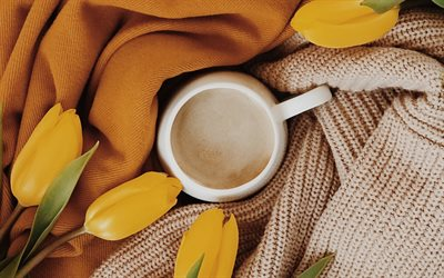 cup of coffee, mood concepts, coffee concepts, yellow tulips, cup