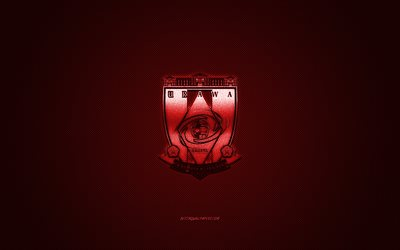 Urawa Red Diamonds, Japonais, club de football, J1 Ligue, logo rouge, rouge de fibre de carbone de fond, football, Saitama, Japon, Urawa Red Diamonds logo, le football, le Japon Ligue de Football Professionnel