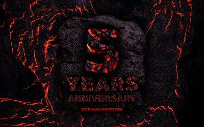 4k, 5 Years Anniversary, fire lava letters, 5th anniversary sign, 5th anniversary, grunge background, anniversary concepts