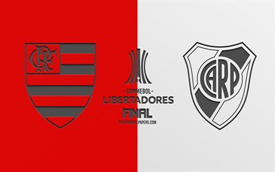 Flamengo vs River Plate, 2019 Copa Libertadores, finale, promotional materials, red-white background, Copa Libertadores logo, football match, Flamengo RJ, River Plate, South America