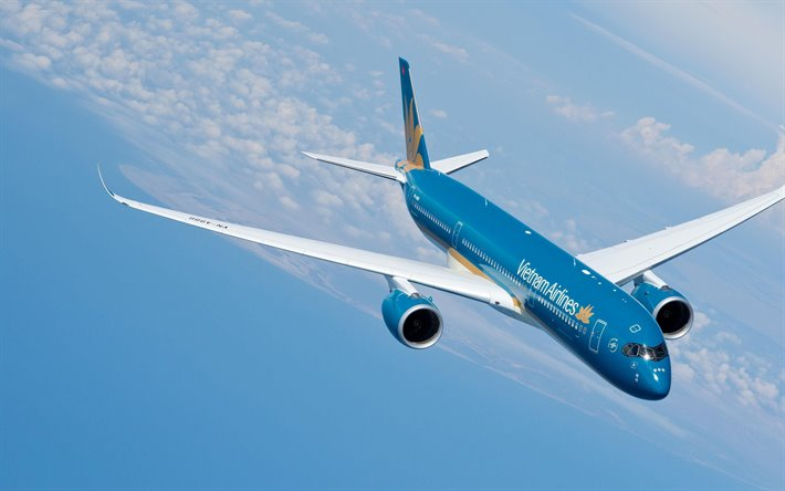 Airbus A350-900, airplane in the sky, passenger plane, air travel concept, Airbus A350 XWB, Vietnam Airlines, Airbus