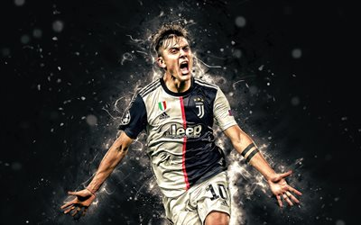 4k, Paulo Dybala, goal, Bianconeri, 2019, Juventus FC, football stars, argentinian footballers, soccer, new uniform, Dybala, neon lights, Serie A, Italy, Juve