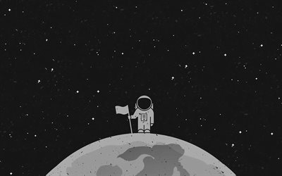 Astronaut in space, 4k, minimal, planet, galaxy, NASA, astronaut on planet, astronaut