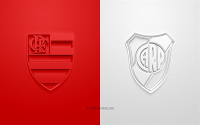 Flamengo vs River Plate, 2019 Copa Libertadores, 3D logos, final, red-white background, promotional materials, football match, CR Flamengo, Copa Libertadores, River Plate