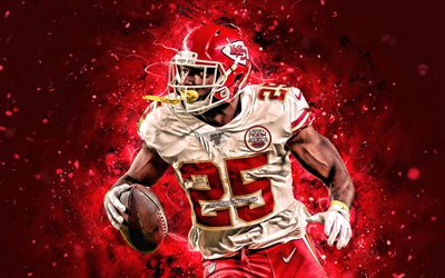 LeSean McCoy, 2019, 4k, de la course de retour, Kansas City Chiefs, le football américain, NFL, LeSean Kamel McCoy, la Ligue Nationale de Football, les néons, Ombragé McCoy