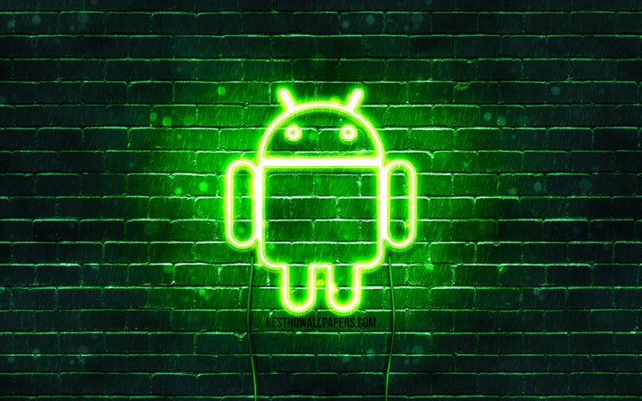 Android green logo, 4k, green brickwall, Android logo, brands, Android neon logo, Android