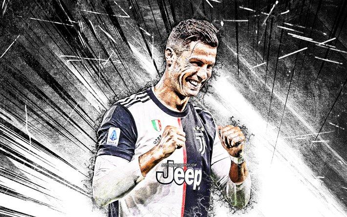 Download Wallpapers Cristiano Ronaldo Grunge Art 2019 Juventus