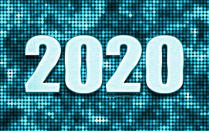 Blue 2020 background, Happy New Year 2020, Blue abstract background, 2020 concepts, 2020 New Year, Blue 2020 metal art, Glitter 2020 background