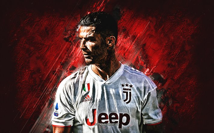 Cristiano Ronaldo, Juventus red logo, Portuguese soccer player, forward, CR7, portrait, Juventus FC, Serie A, Italy, football