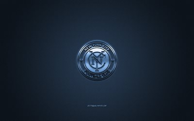 new york city fc in der mls, der amerikanischen fußball-club der major league soccer, blaue logo, blau-carbon-faser-hintergrund, fußball, new york, usa, new york city fc logo