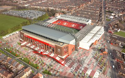 Download wallpapers Anfield, football stadium, 4k, view from above, Liverpool, England, UK for ...