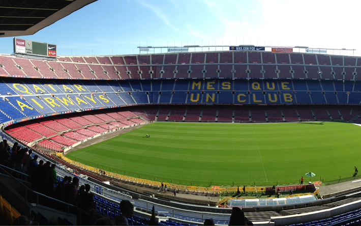 Download wallpapers camp nou football stadium catalonia - Camp nou 4k wallpaper ...