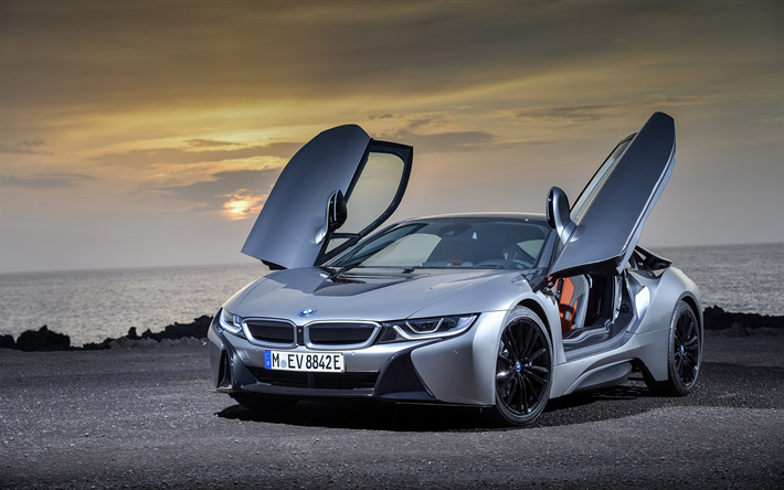 t l charger fonds d 39 cran bmw i8 2019 nouveau gris i8 coup sport voiture lectrique les. Black Bedroom Furniture Sets. Home Design Ideas