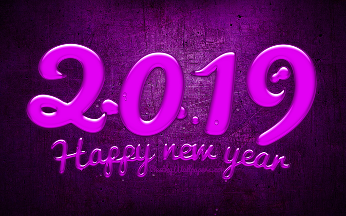 Gate Result 2019 Date Wallpaper: Download Wallpapers 2019 Year, Purple Digits, Creative