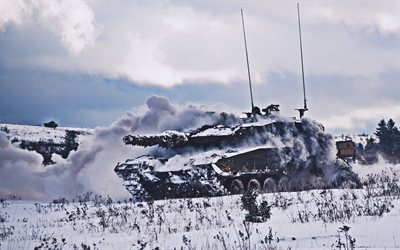 Leopard 2, winter, german MBT, tanks, snowdrifts, Bundeswehr, German army, armored vehicles